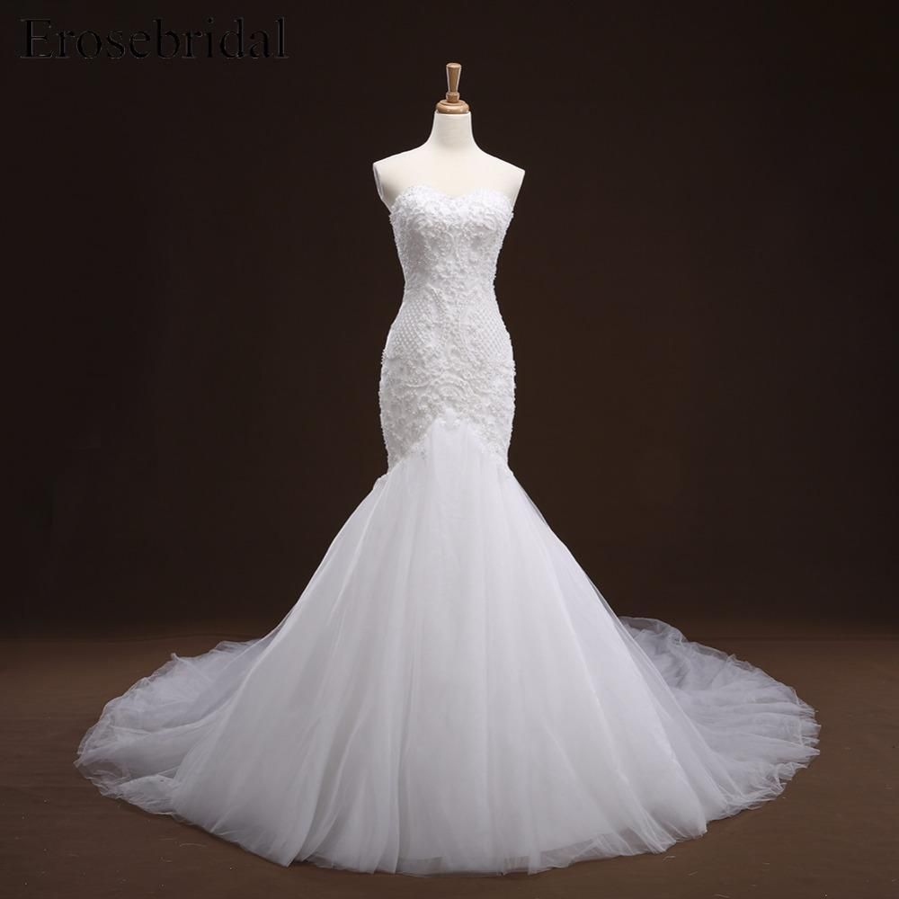 Mermaid tail wedding dress  Sweetheart Neckline Mermaid Lace Long Tail Luxurious Wedding Bridal
