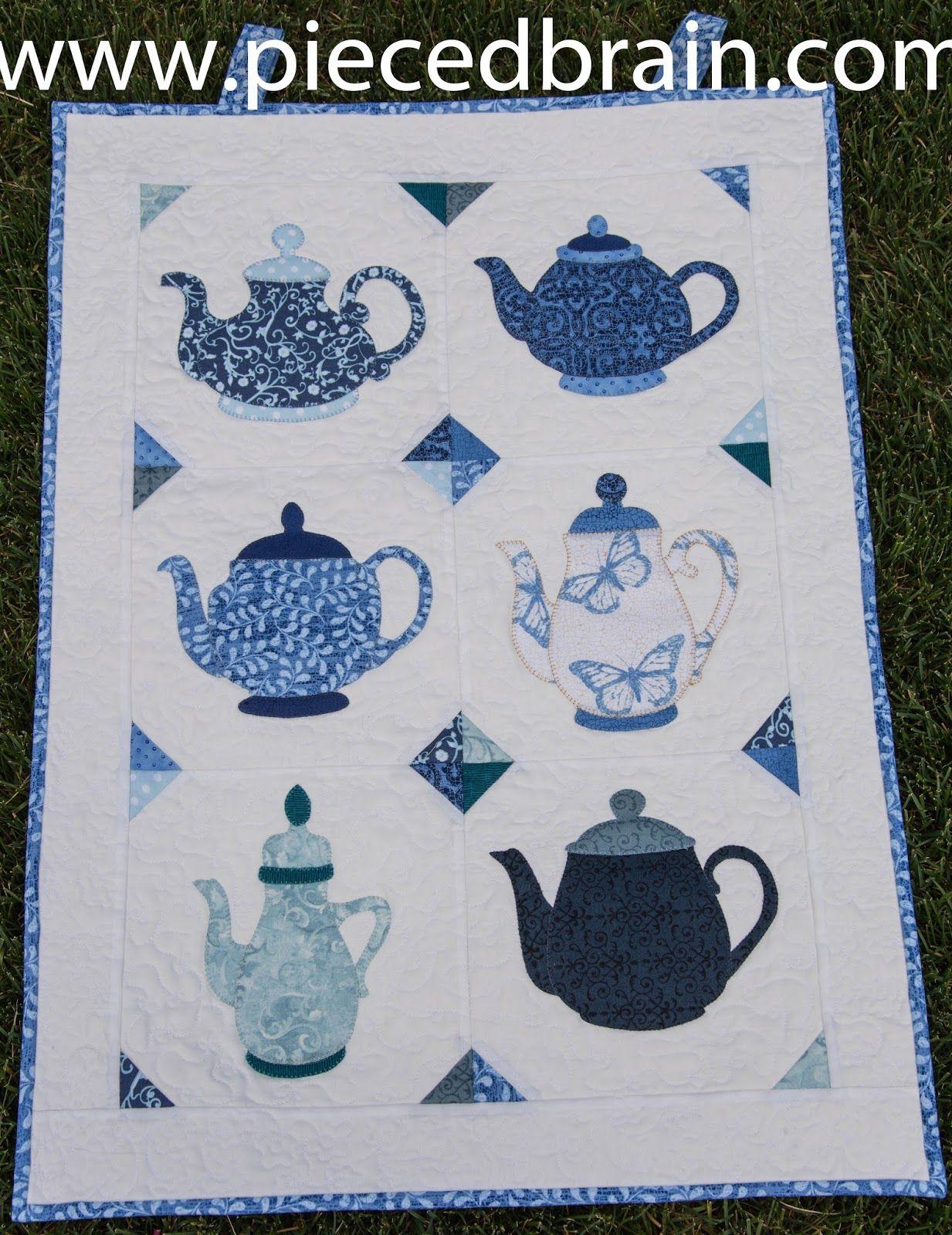 Teapots Wall Hanging Miniature Quilts Applique Quilts Applique Quilting