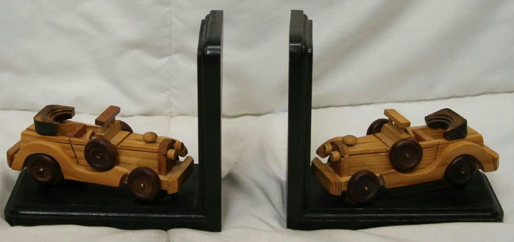 "5.5"" VINTAGE HAND CRAFTED WOOD MODEL ROADSTER CONVERTIBLE CAR BOOKENDS"