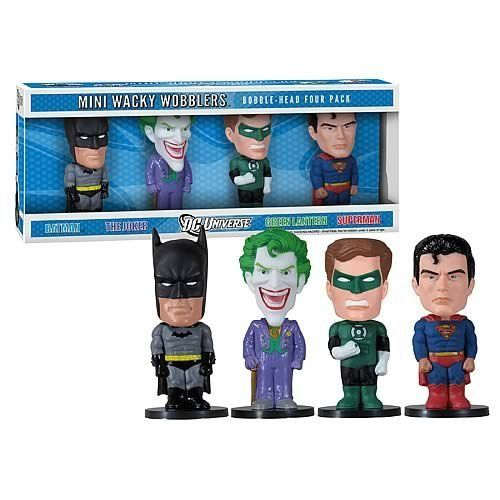Set 4 Mini Bobble-Head Batman v Superman DC Comics Wacky Wobbler by Funko