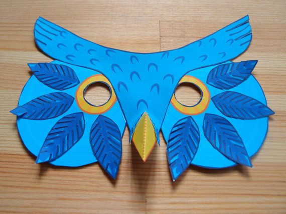 Owl mask printable mask paper craft kit by for Mask craft for kids