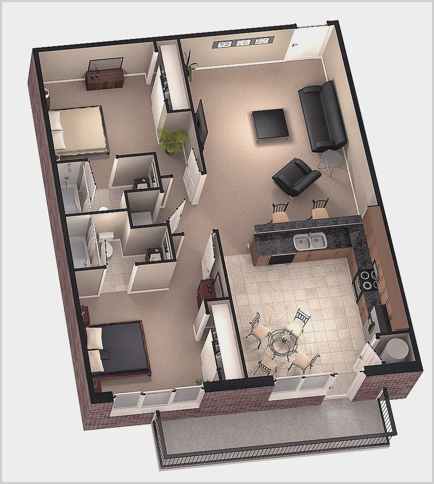 Modern 1 Bedroom House Plans 3d In 2020 Two Bedroom Tiny House House Plans Small House Plans