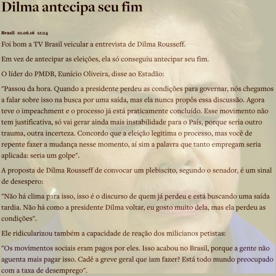 Dilma antecipa seu fim ➤ http://www.oantagonista.com/posts/dilma-antecipa-seu-fim ②⓪①⑥ ⓪⑥ ①⓪ #Impeachment