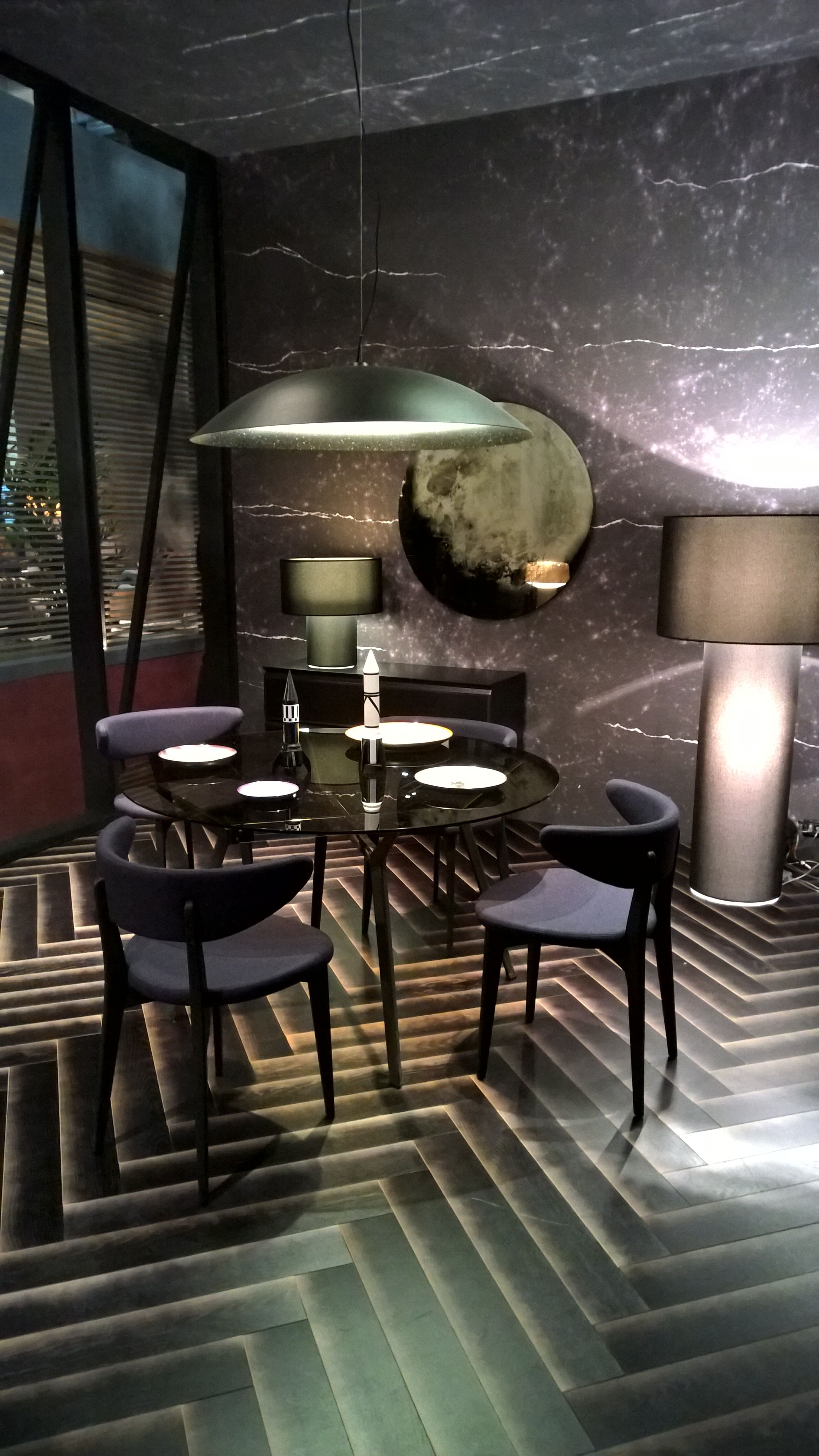 stylist and luxury tile floor designs for living rooms. Dining room interior design with herringbone tile floor and marble wall or  wallpaper Dark Living Room Trends for 2016 Herringbone floors