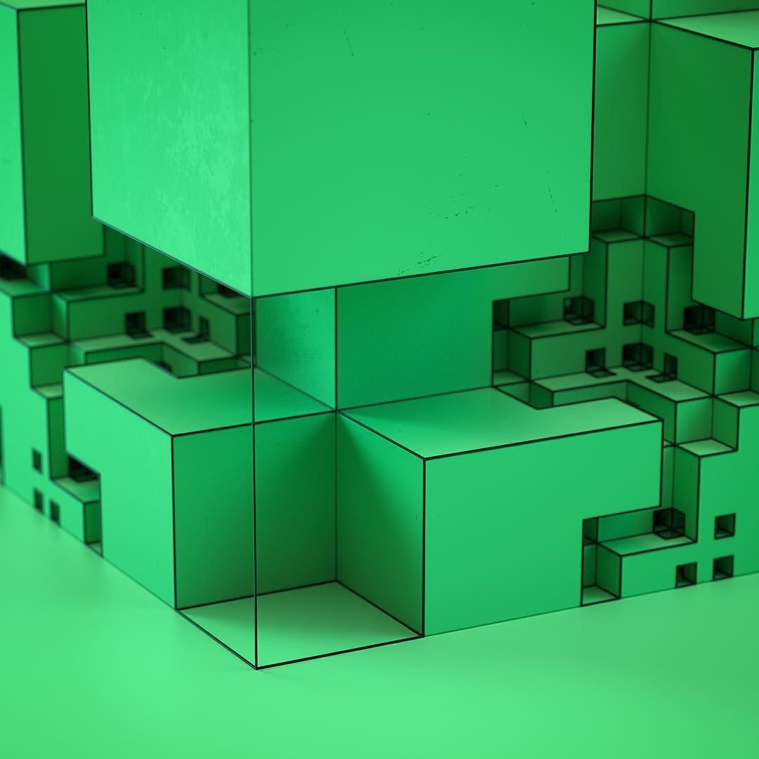 More green more cubes. #fractal #octanerender #geometry #symmetry by tendrilchris