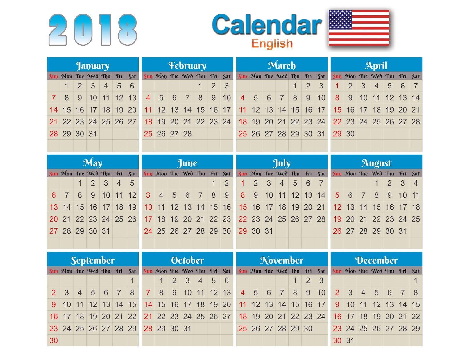 Calendars 2018 English Eps,Ai,Cdr,PSD,PNG e PDF Vector Calendar 2018 English free Download