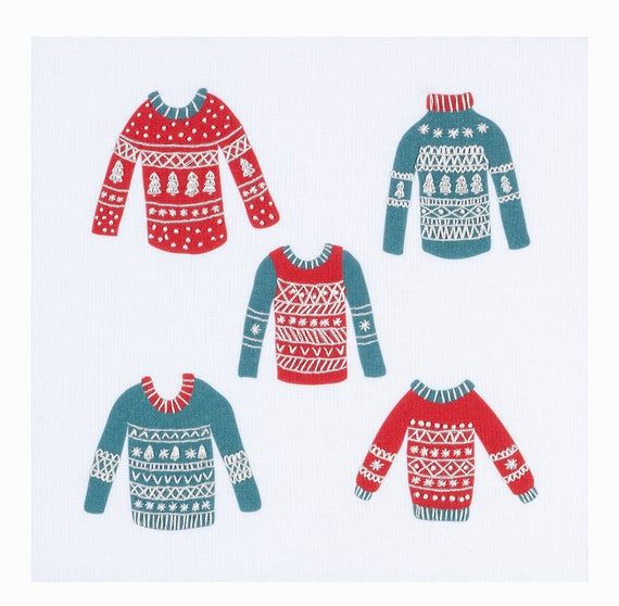 Christmas embroidery pattern for beginners. Christmas jumpers.  Fun gift. Xmas needle craft pattern. #embroiderypatternsbeginner