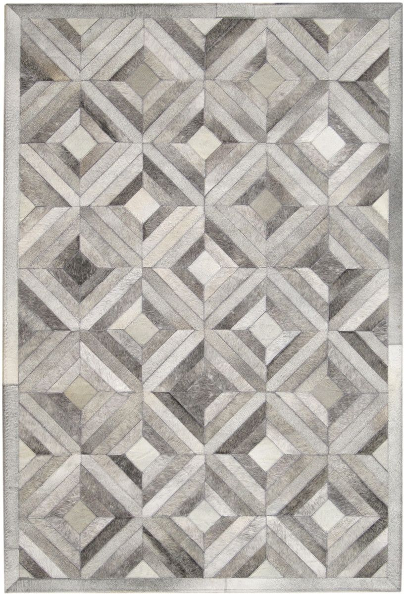 Madisons gray parquet pattern patchwork cowhide rug for Designer cowhide rugs