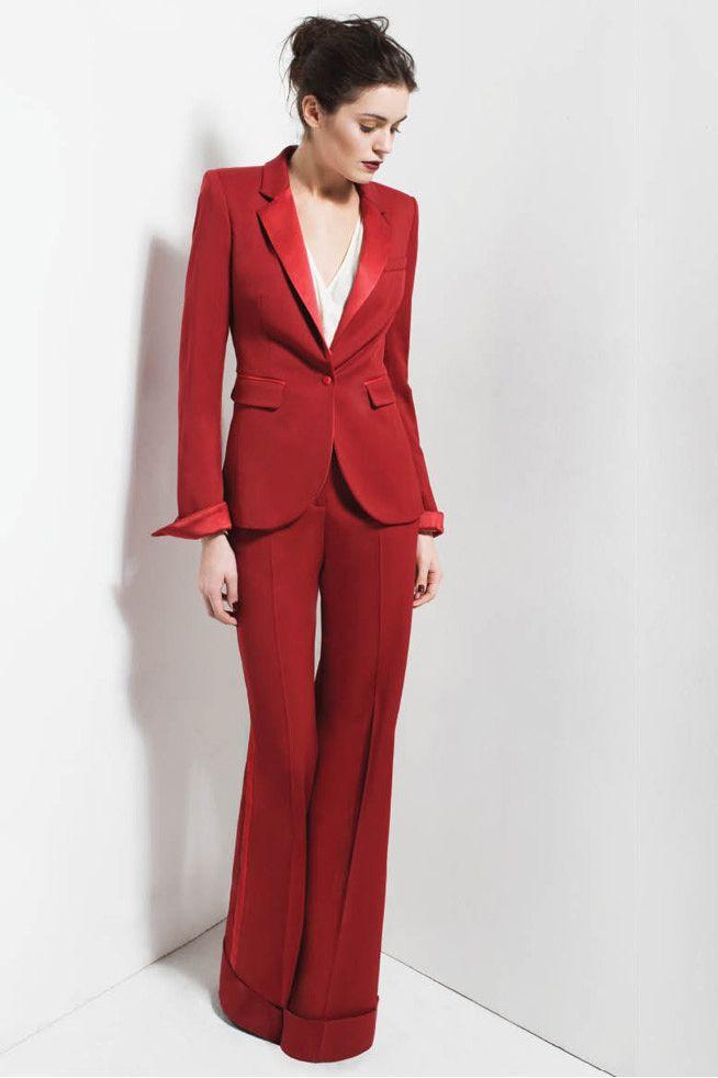 Jacket+Straight Trousers Women Business Suits Red Satin Lapel Office  Uniform New 285d1fc3454d