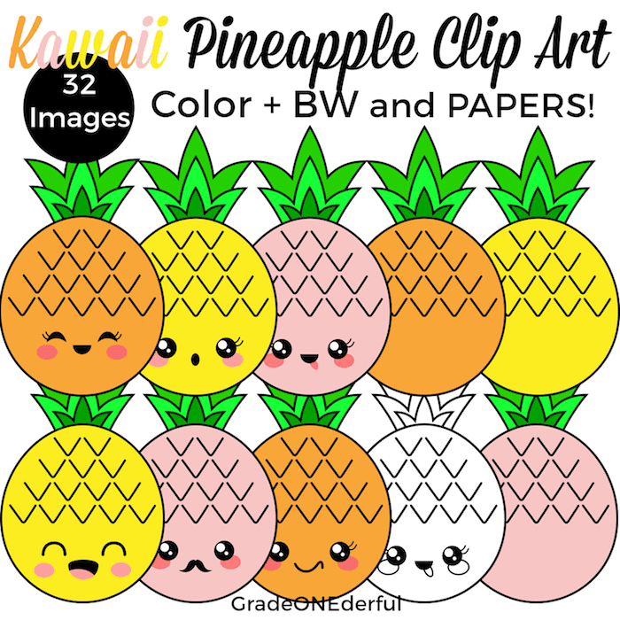 Pineapple Clip Art and Coloring Page Freebie   Kawaii ...