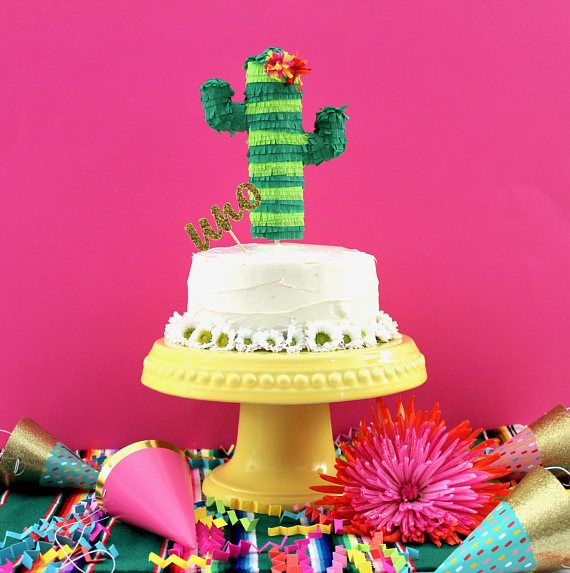 Cactus Cake Topper Mini Pinata Decoration Fiesta