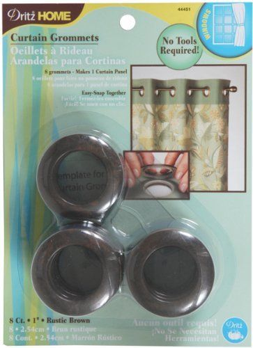 Dritz 44451 Round Curtain Grommets Rustic Brown 1 Inch 8 Pack