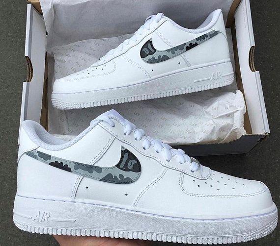 Custom Grey Camo Bape Nike Air Force 1's Low | Zapatos de