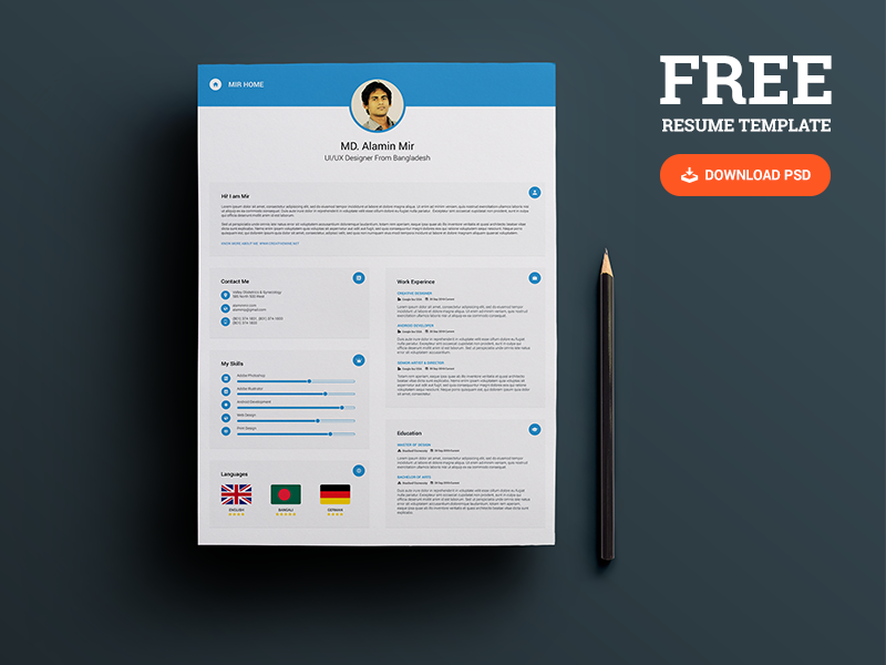 25+ Best Free Resume / CV Templates PSD Resume template free