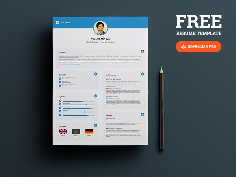 25+ Best Free Resume / CV Templates PSD Resume template free