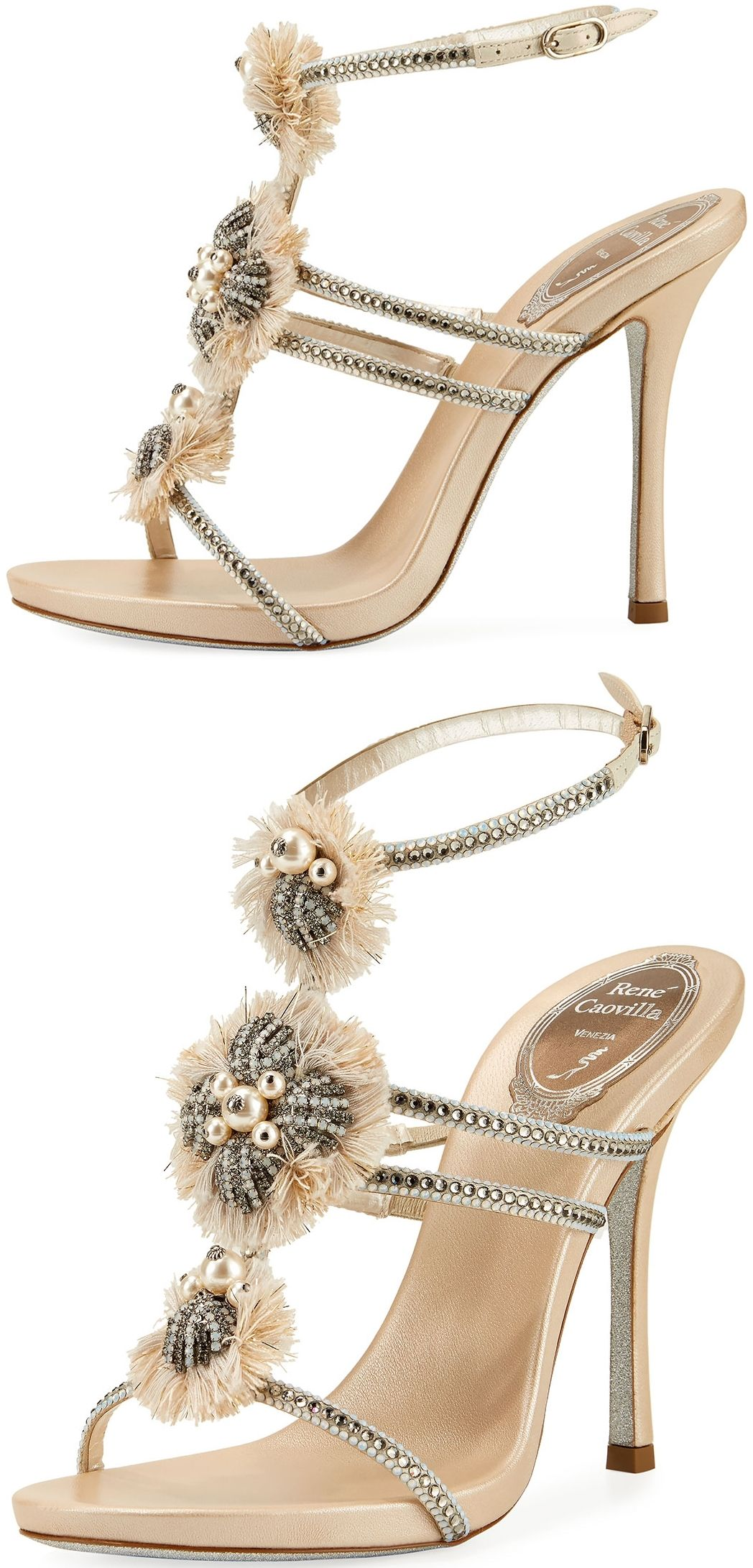 RENé CAOVILLA Designer Shoes, Satin and Crystals High Heel Sandals