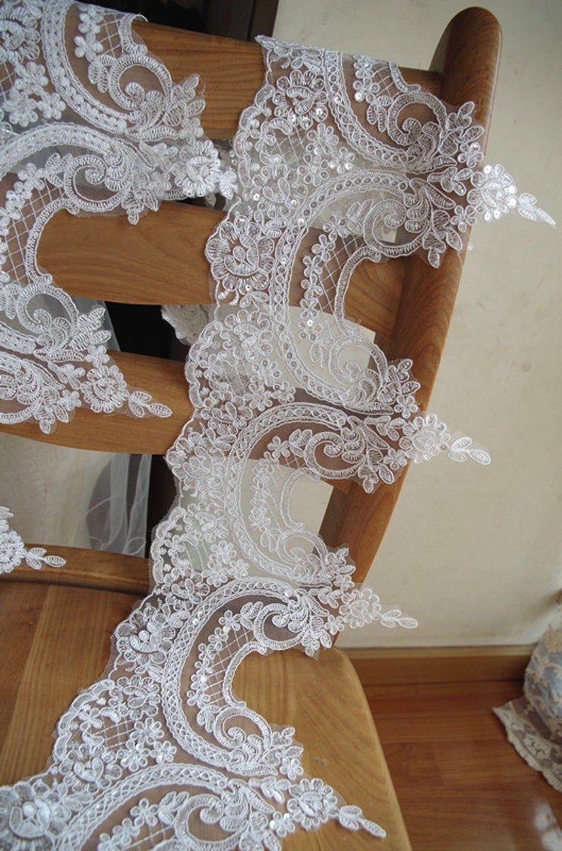 alencon lace trim,ivory sequined lace trim CGDZ53