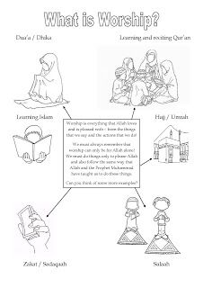 Islam colouring in sheet with explanation of the how and