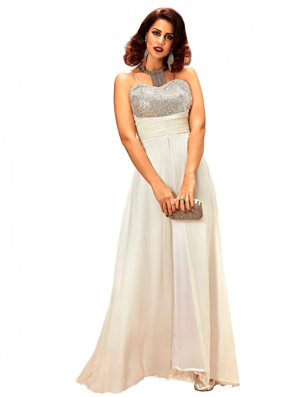 Buy Khwaab Strapless Sweetheart Neck Line Off-White Gown Online at ...