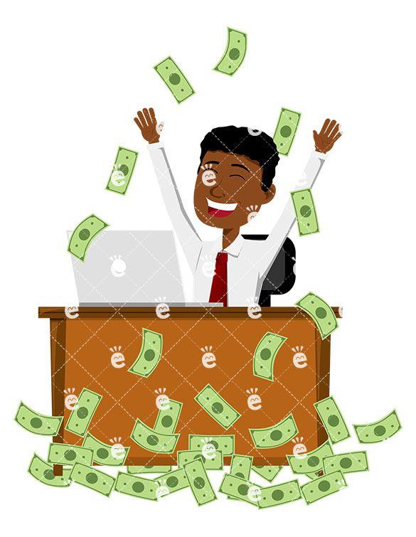 Black Man Cheering As He Makes Lot Of Money At Work Vector Friendlystock Man Cartoon Illustration Cartoon Drawings
