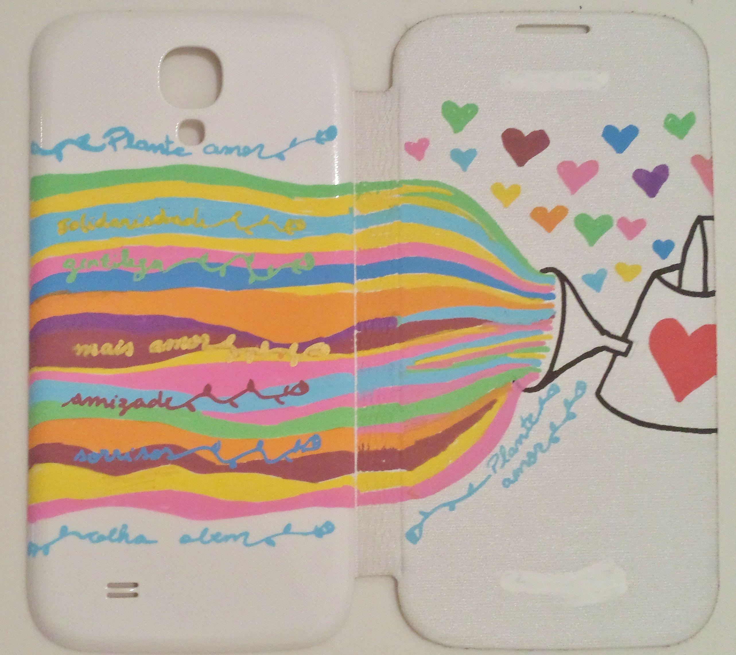 Capinha do celular :D Desenho com canetinhas posca!