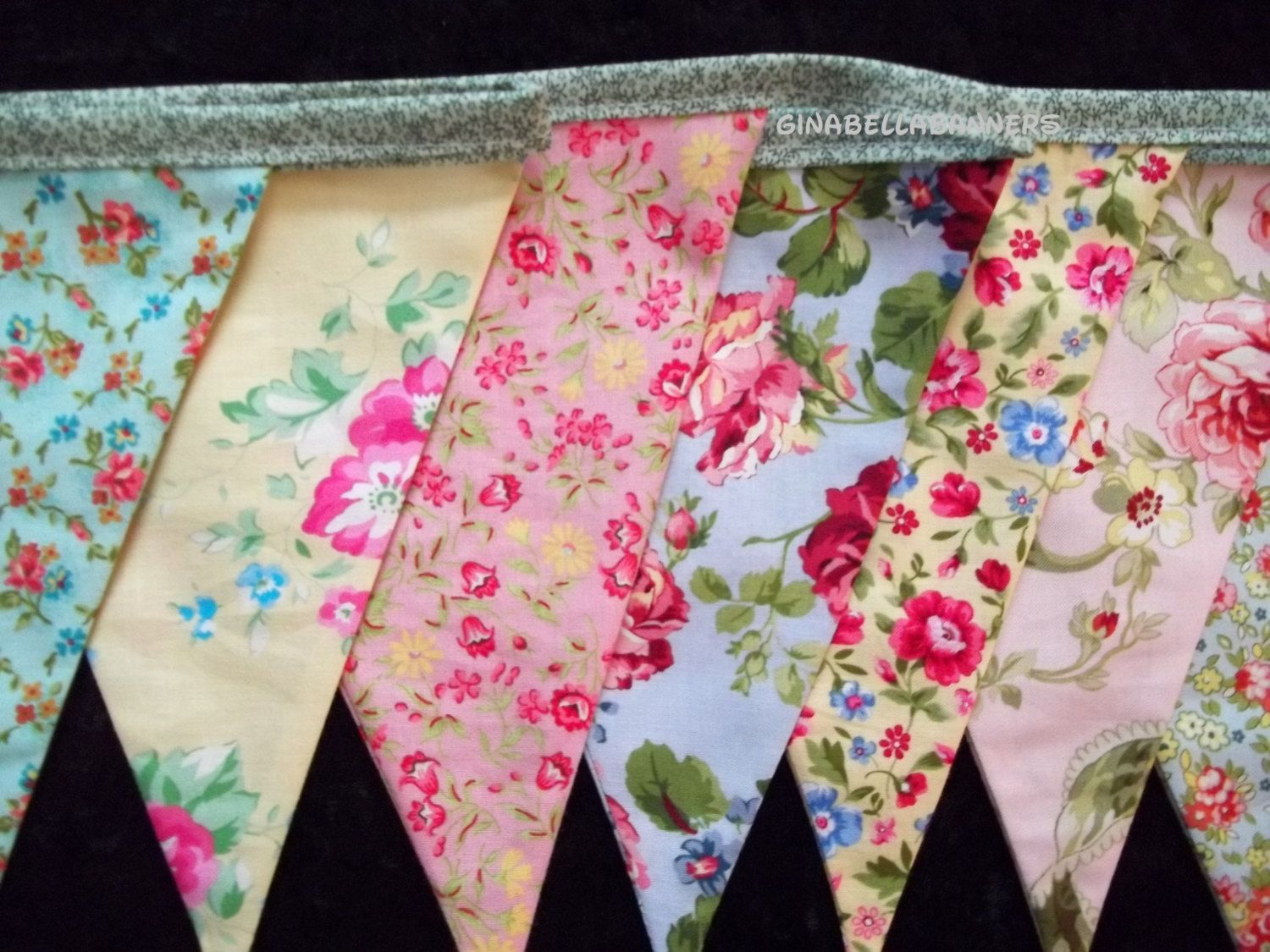 Shabby chic banner pink vintage pennant beach wedding bunting