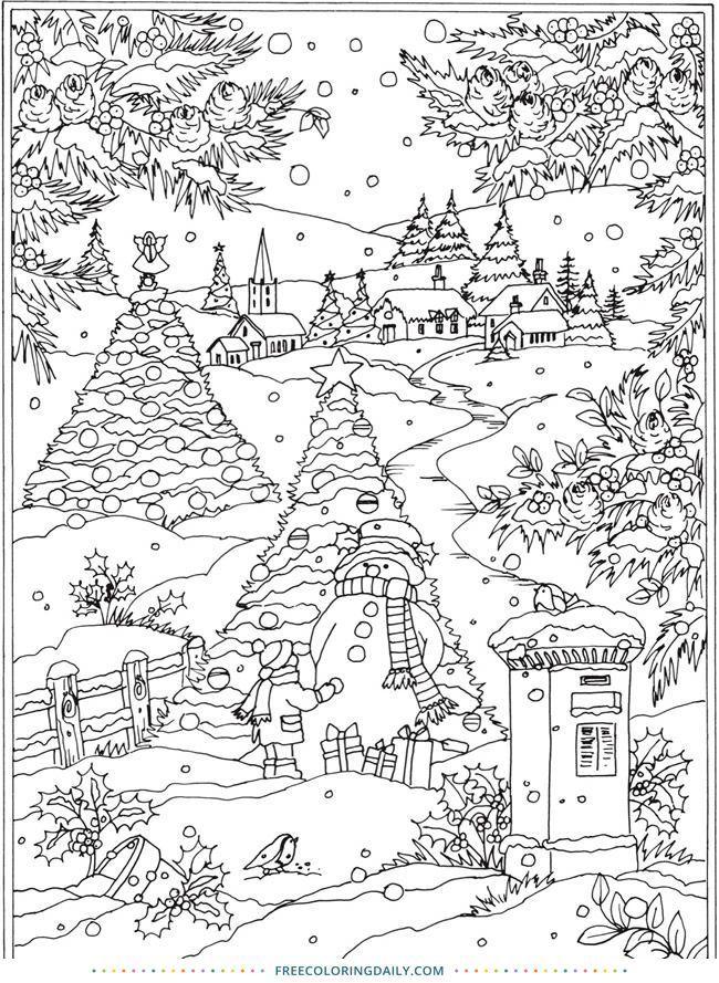 Kostenlose Snowy Winter Scene Coloring Malen Zeichnen Coloring Drawi Ausmalbilder Mandala Ausmalbilder Weihnachtsfarben Weihnachtsmalvorlagen