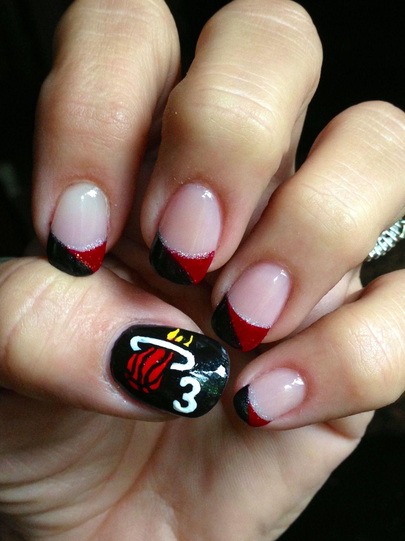 Miami Heat mani. Awesome mani! Wade baby...3!! Nails