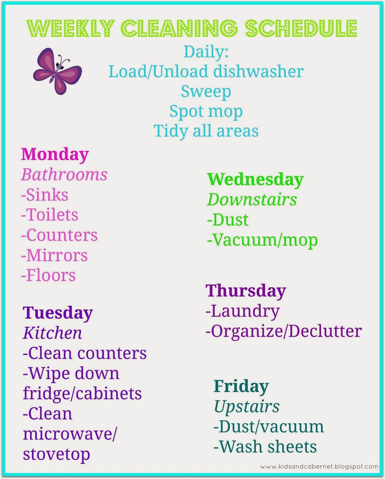 Our cleaning schedule