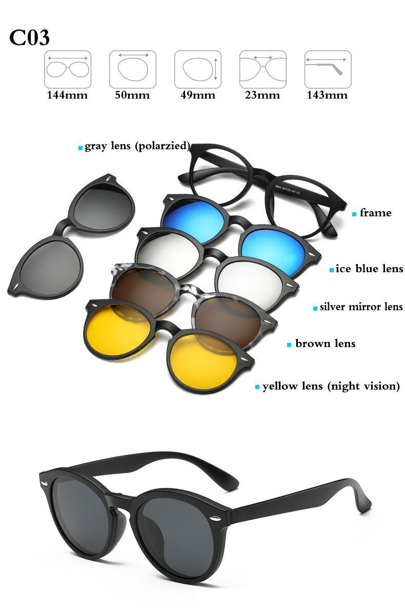 e292260f1c4 Optical Frame Women Men With 5 Clip On Sunglasses Polarized Magnetic Glasses   ClipOn  Magnet