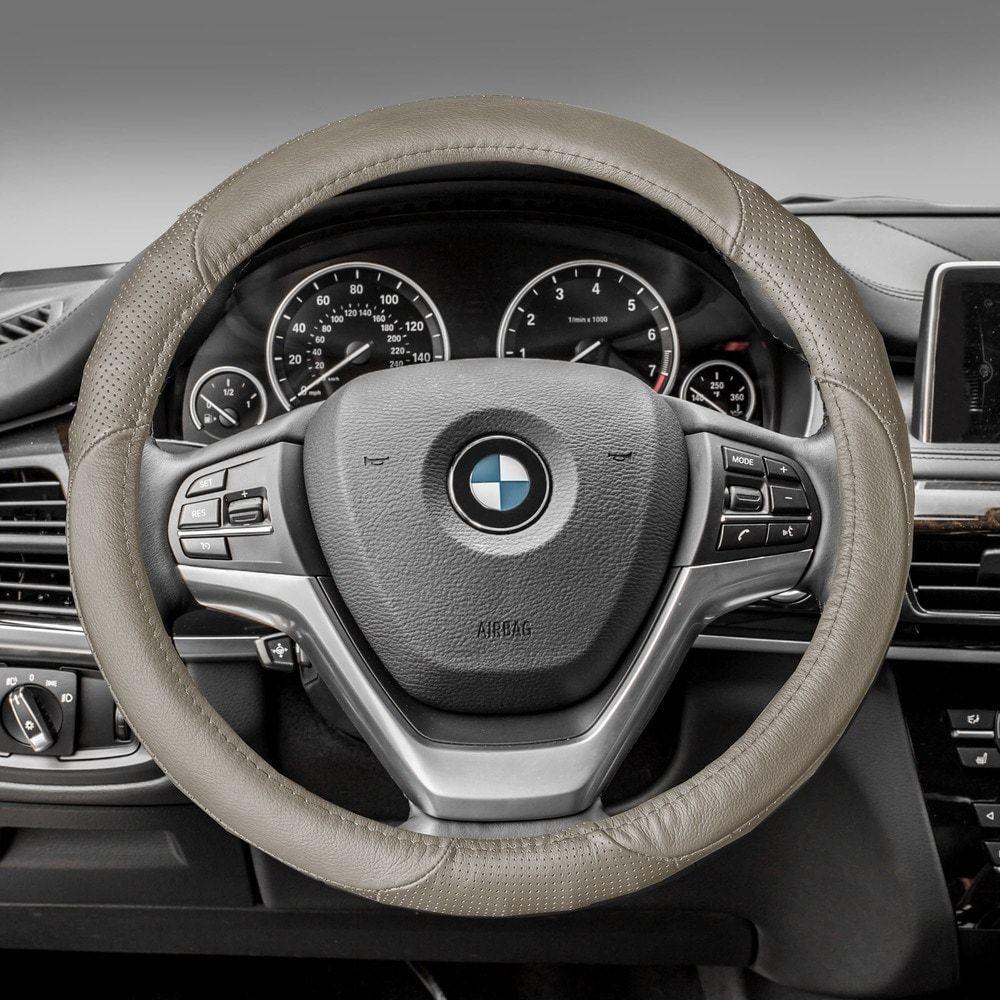 Fh group beige perforated genuine leather steering wheel