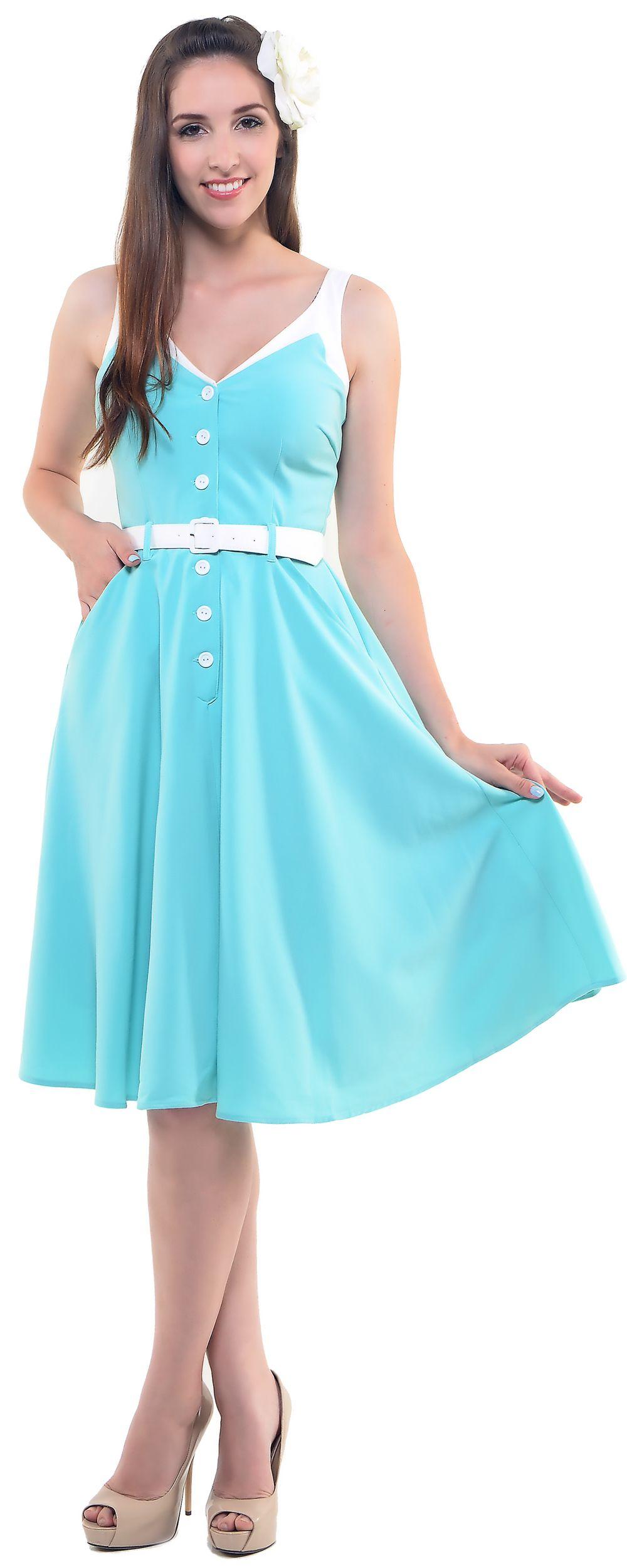 Light Blue Sea Breeze Swing Dress With Detachable Belt - S-4X | On ...