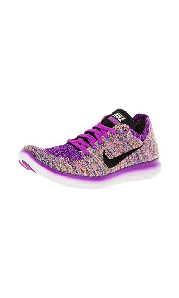Nike Women\'s Free Rn Flyknit Hyper Violet/Blk/Gmm Bl/Cncrd Running Shoe  9.5 Women US