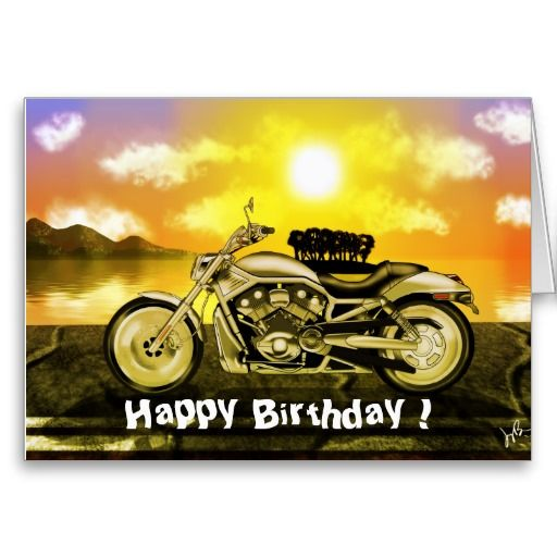 Free Motorcycle Birthday Cards Motorcycle Birthday Card Zazzle