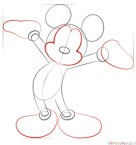 how to draw mickey mouse step by step drawing tutorials