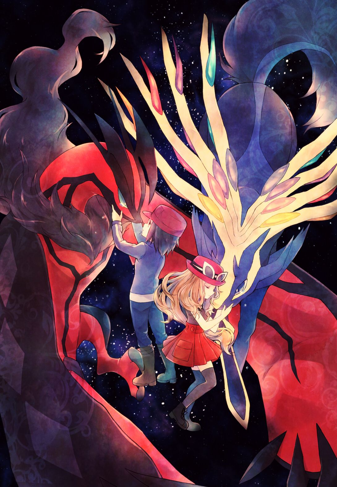 Calem And Serena Consoling Xerneas And Yveltal Aww The