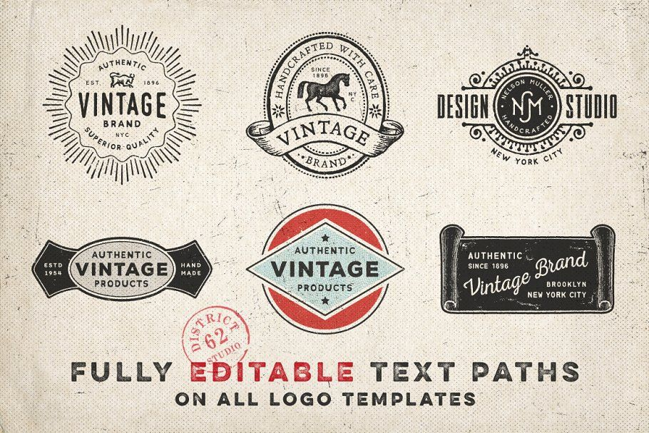 Download Ad: VINTAGE LOGO TEMPLATES by DISTRICT 62 STUDIO on ...