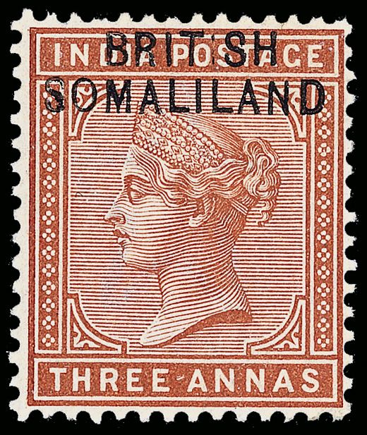 """Somaliland 5b (5a var footnoted) 1903 3a brown-orange Q Victoria of India overprinted """"BRITISH SOMALILAND"""" at top, wmkd Star, perf 14, early state of the ERROR - """"BRIT SH"""" for """"BRITISH"""" (row 2, pos 6)"""