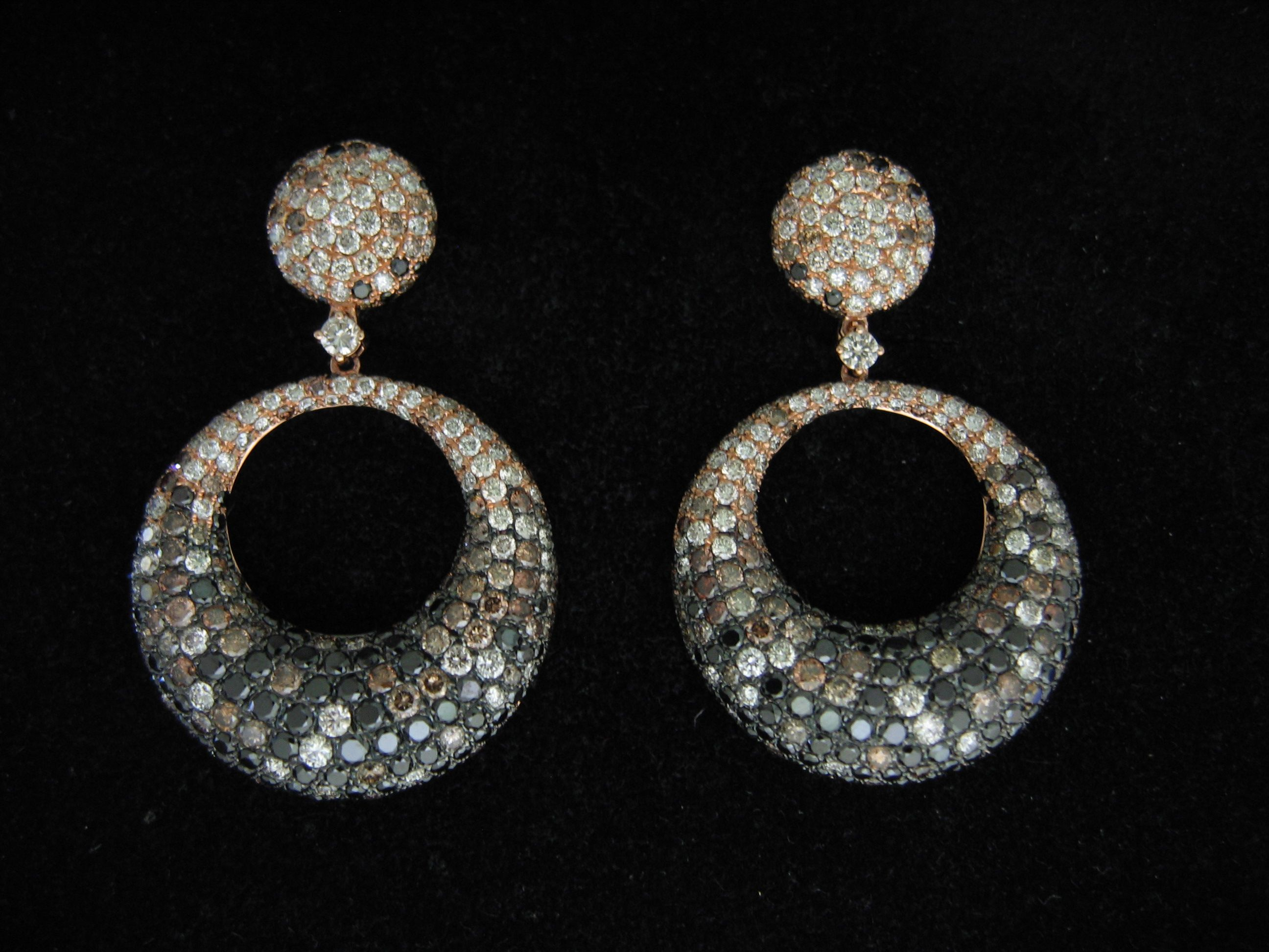 diamond ring tw earrings rose gold champagne in