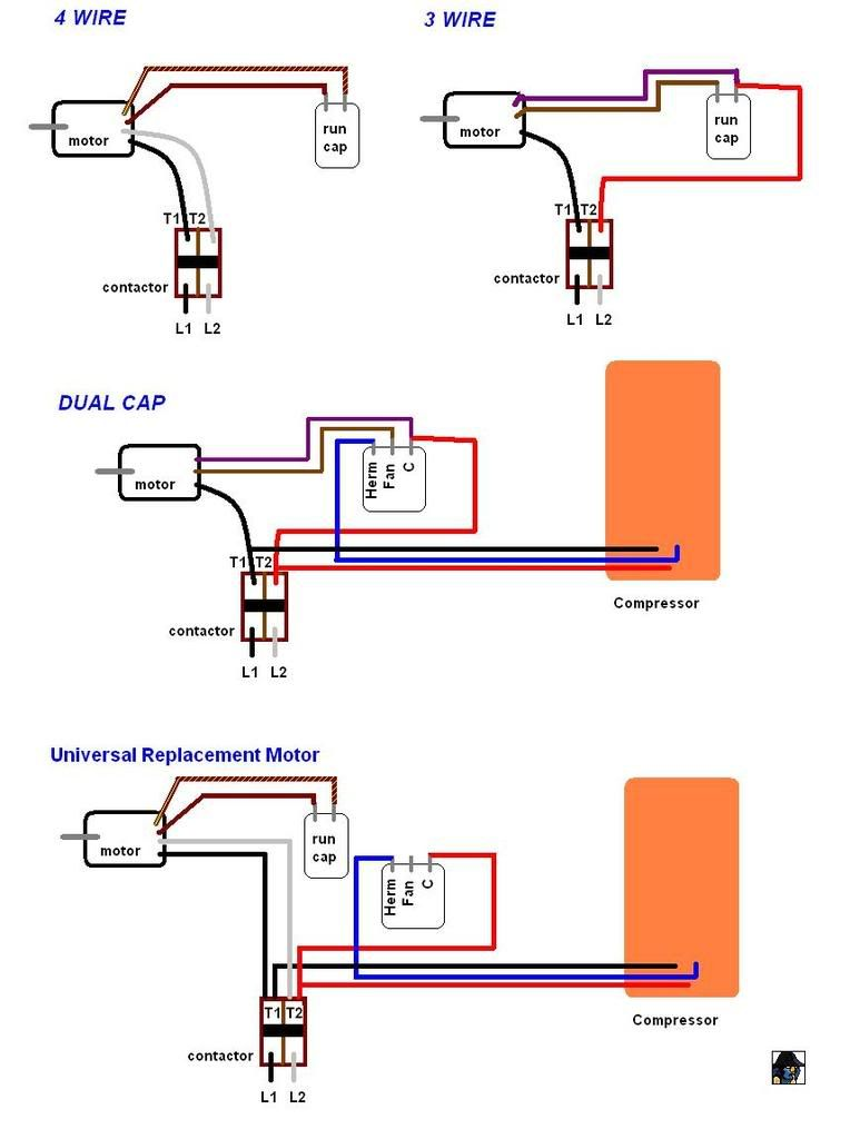 Need help replacing HVAC condensor fan motor - 3 wire old to ...  Wire Fan Diagram on