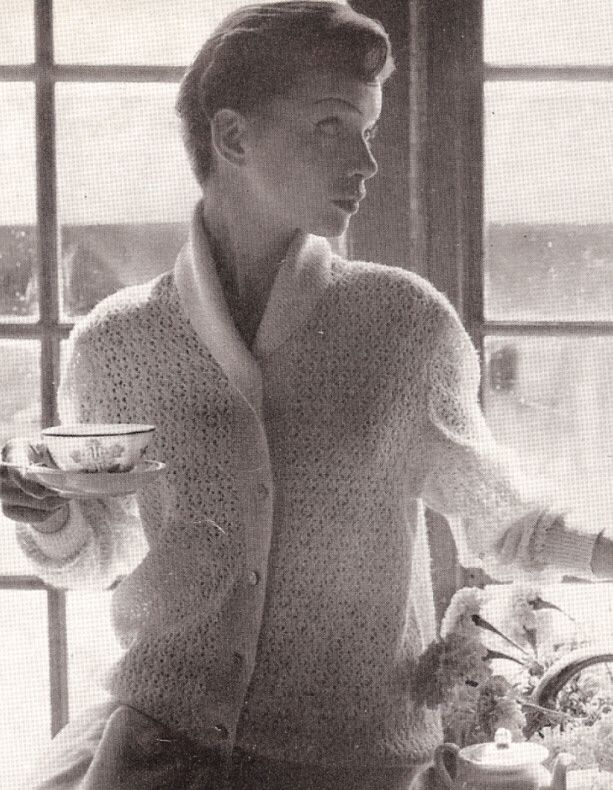 Vintage Bed Jacket Sweater Knitted Lace Pattern Knitting Light And
