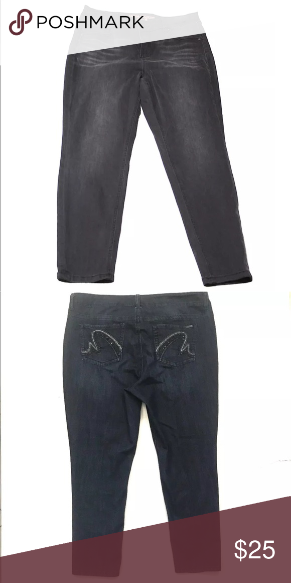 """7766329506f Melissa McCarthy Skinny Embellished Jeans 16W New without tags. Never worn. Too  short for me. Inseam 28"""". Non smoking. Melissa McCarthy Seven7 Jeans Skinny"""