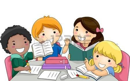 Illustration Featuring A Group Of Kids Studying Together School Cartoon Kids Study Clip Art