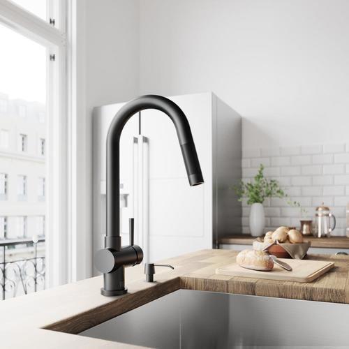 Vigo Gramercy Matte Black 1 Handle Deck Mount Pull Down Handle Kitchen Faucet Lowes Com Single Handle Kitchen Faucet Black Kitchen Faucets Kitchen Handles
