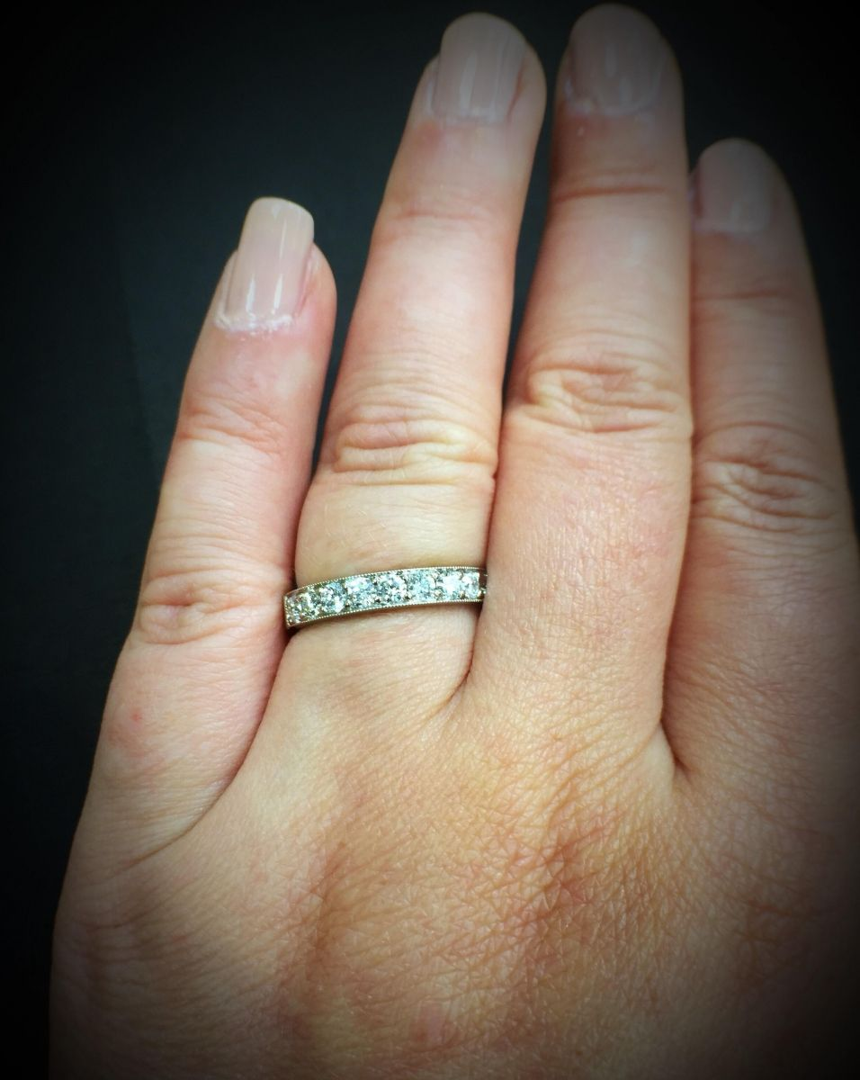 Diamond Pave Wedding Band With Vintage Details Eternity Ring Half Eternity Ring Pave Wedding Bands