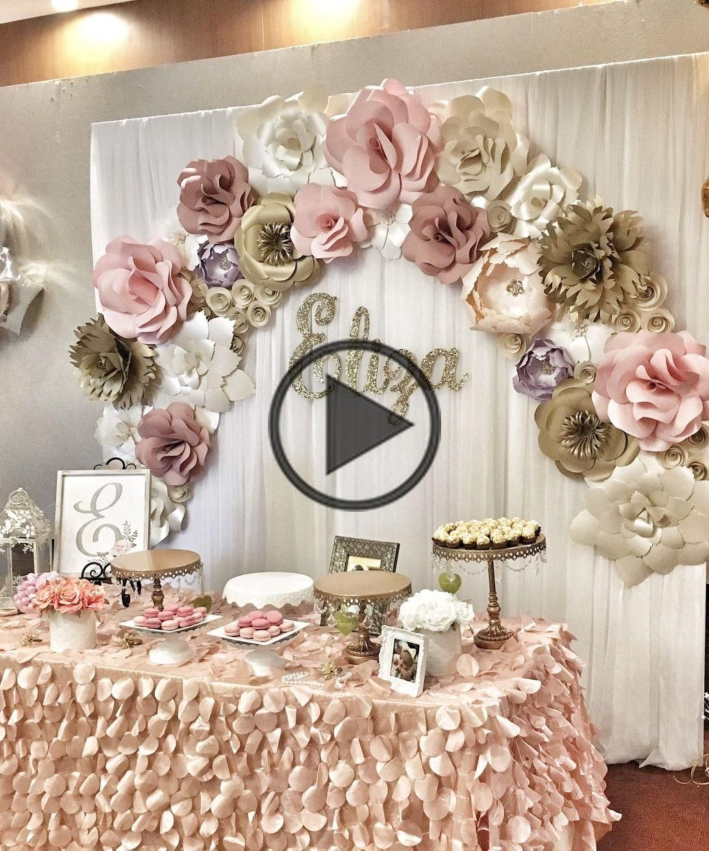 Paper Flower Wall Rental Pictures Paper Flower Wall Rentals And Paper Flower Arch Rental For In 2020 Girly Decor Flower Wall Rental Birthday Decorations