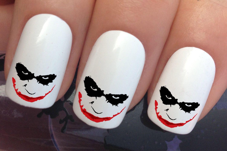 Halloween nail decals #615 joker face wrap water transfers stickers ...