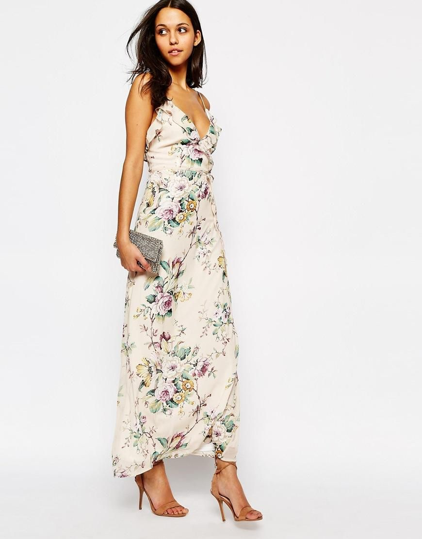 Oh My Love Oh My Love Maxi With Frill In Spring Blossom At Asos