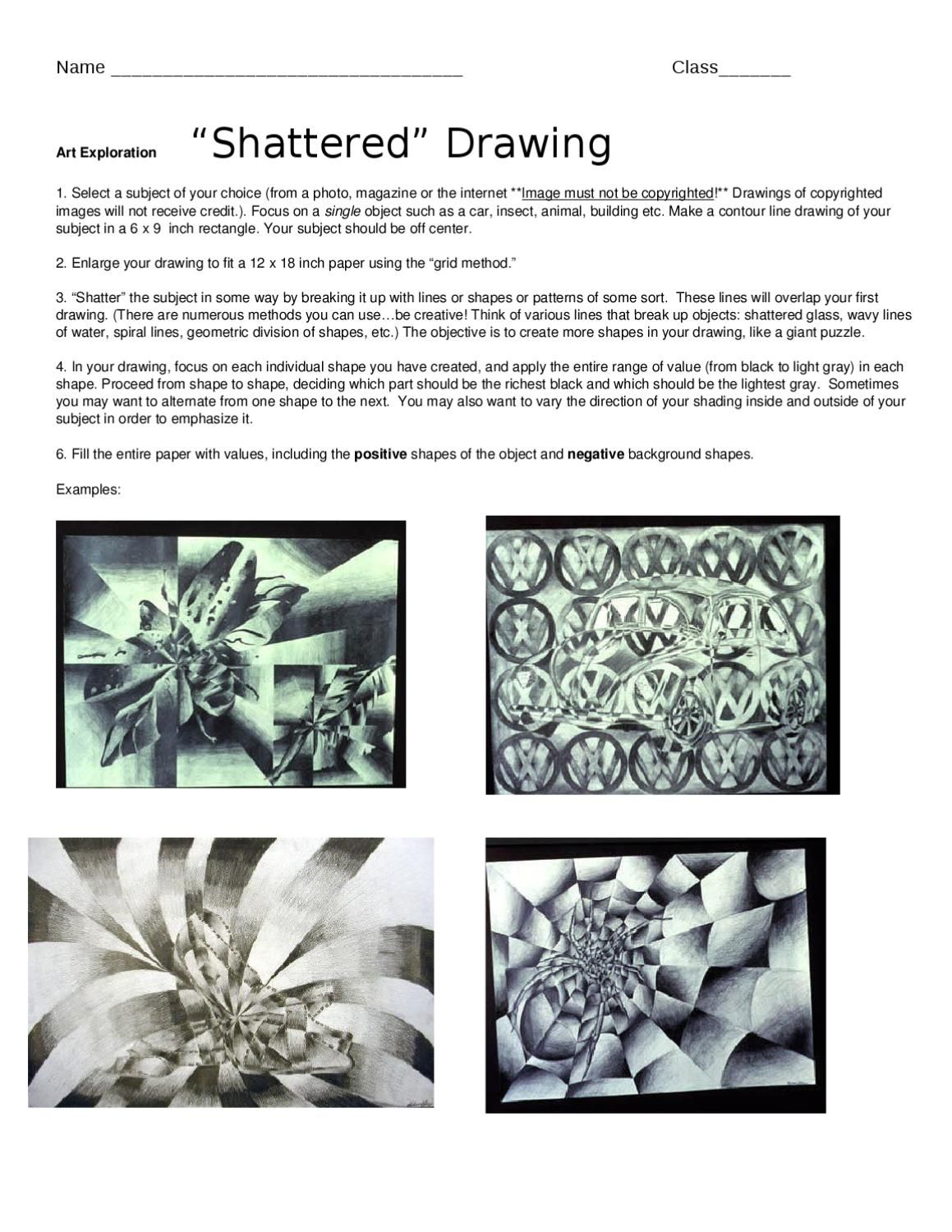Shattered Drawing Handout In