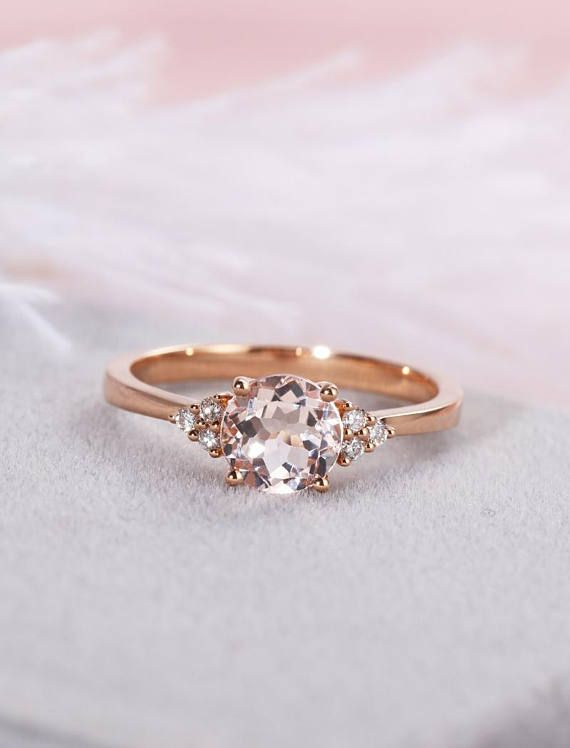 Peach Morganite Engagement Ring Solitaire Ring 14k Rose Gold